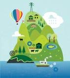 Karikaturkarte mit Insel Stockbilder