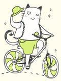 Karikaturkatze auf einem Fahrrad Stockfoto