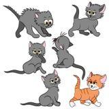 Karikaturkatzen eingestellt Einfache moderne flache Artillustration Stockbilder