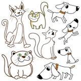 Karikaturkatzen und -hunde Lizenzfreies Stockfoto