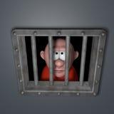 Karikaturkerl im Gefängnis lizenzfreie abbildung