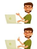 Karikaturkerl mit Laptop Stockbild