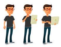 Karikaturkerl mit Tablette und Notizbuch Lizenzfreies Stockfoto