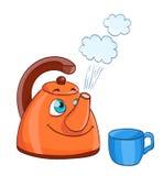 Karikaturkessel mit kochendem Wasser mit Augen und einer Schale Lizenzfreie Stockfotografie
