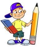 Karikaturkind, das Bleistift und Radiergummi hält lizenzfreie abbildung