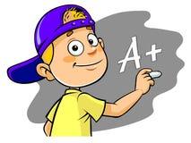 Karikaturkind, das A+-Grad schreibt stock abbildung