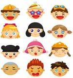 Karikaturkind-Gesichtsikone Stockfotos
