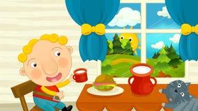 Karikaturkind isst Frühstück mit seiner Freundkatze stock abbildung