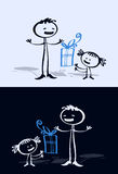 Karikaturkind u. -vati Lizenzfreies Stockfoto
