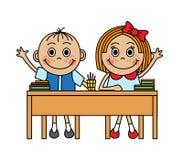 Karikaturkinder, die in der Schule Schreibtisch sitzen stock abbildung