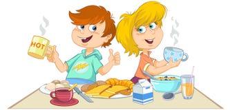 Karikaturkinder, die ein Frühstück essen stock abbildung