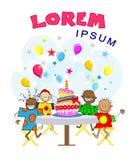 Karikaturkinder am Feiertag Geburtstag stock abbildung