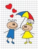 Karikaturkinder mit Regenschirm Lizenzfreie Stockfotografie