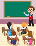 Karikaturkleinkind eine Studie im Klassenzimmer stock abbildung