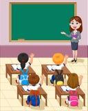 Karikaturkleinkinder eine Studie im Klassenzimmer vektor abbildung