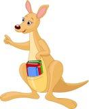 Karikaturkänguruh und -bücher Stockbild