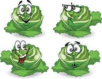 Karikaturkohlpflanzen mit nettem Gesicht Lizenzfreie Stockfotos