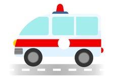 Karikaturkrankenwagenauto auf weißem Hintergrund lizenzfreie stockbilder