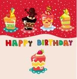 Karikaturkuchen-Geburtstagkarte Stockfotos