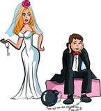 Karikaturkugel und -kette. Gerade geheiratet Lizenzfreie Stockbilder