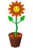 Karikaturlächelnblume in einem Flowerpot Stockfotografie