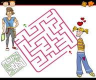 Karikaturlabyrinth oder Labyrinthspiel Stockfotografie
