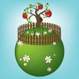 Karikaturland mit Apfelbaum, Vektor Stockfotos