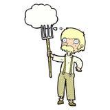 Karikaturlandwirt mit Heugabel mit Gedankenblase Lizenzfreie Stockbilder