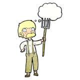 Karikaturlandwirt mit Heugabel mit Gedankenblase Stockbild