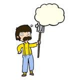 Karikaturlandwirt mit Heugabel mit Gedankenblase Lizenzfreies Stockfoto