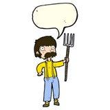 Karikaturlandwirt mit Heugabel mit Spracheblase Stockbild