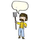 Karikaturlandwirt mit Heugabel mit Spracheblase Stockfoto