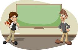 Karikaturlehrer im Klassenzimmer Stockfoto