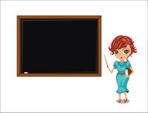 Karikaturlehrerfrau nahe Tafel. Lizenzfreies Stockfoto