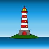 Karikaturleuchtturm Stockbild