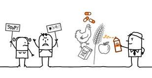 Karikaturleute, die Chemikalien in der Lebensmittelindustrie ablehnen lizenzfreie abbildung
