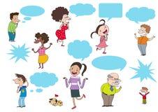 Karikaturleute, die, denkend sprechen Stockfoto