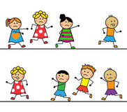 Karikaturleute lassen laufen und holen sich ein Lizenzfreies Stockfoto