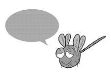 Karikaturlibelle auf Lager mit Spracheblase Stockbild