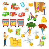 Karikaturlieferung und Logistiksatz Vector Illustration des Transportes, logistisches Technologiecharakterdesign Stockfotografie