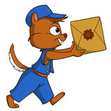 Karikaturlieferungsstreifenhörnchen mit Paket Stockfotos