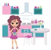 Karikaturmädchen auf Küche trägt eine Teekanne Stockbilder