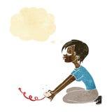 Karikaturmädchen, das Computerspiele mit Gedankenblase spielt Lizenzfreies Stockfoto