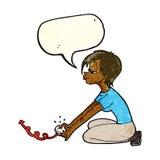 Karikaturmädchen, das Computerspiele mit Spracheblase spielt Stockbilder
