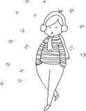 Karikaturmädchen-Handskizze Stockfotos