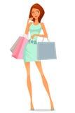 Karikaturmädchen im Sommerkleid, kaufend Lizenzfreie Stockfotografie