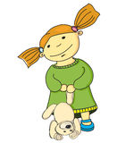 Karikaturmädchen mit Bären. Stockbild