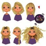 Karikaturmädchen mit den verschiedenen Haaren stock abbildung