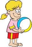 Karikaturmädchen mit einem Wasserball Lizenzfreie Stockfotos