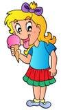 Karikaturmädchen mit Eiscreme Stockfotos